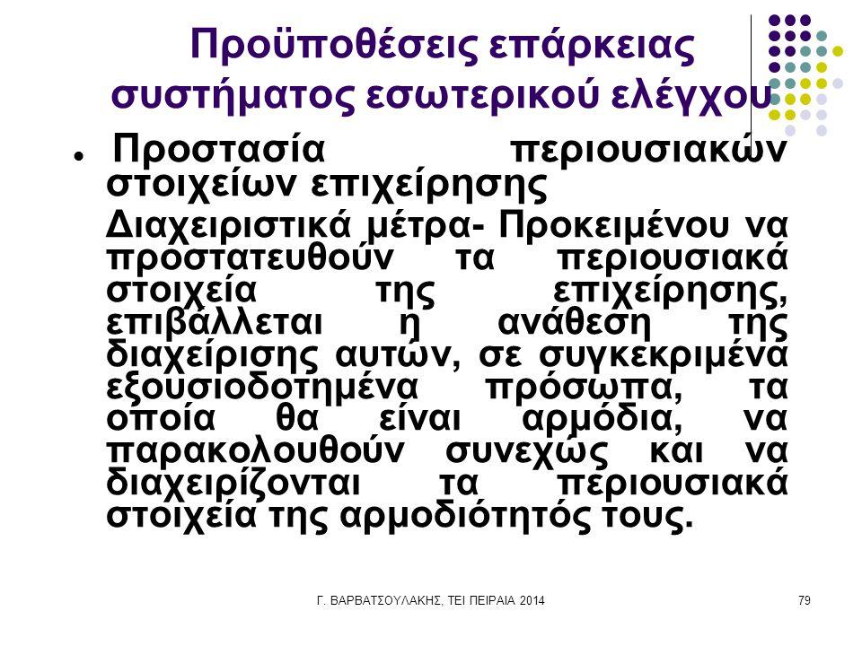 Γ. ΒΑΡΒΑΤΣΟΥΛΑΚΗΣ, ΤΕΙ ΠΕΙΡΑΙΑ 201479 Προϋποθέσεις επάρκειας συστήματος εσωτερικού ελέγχου Προστασία περιουσιακών στοιχείων επιχείρησης Διαχειριστικά