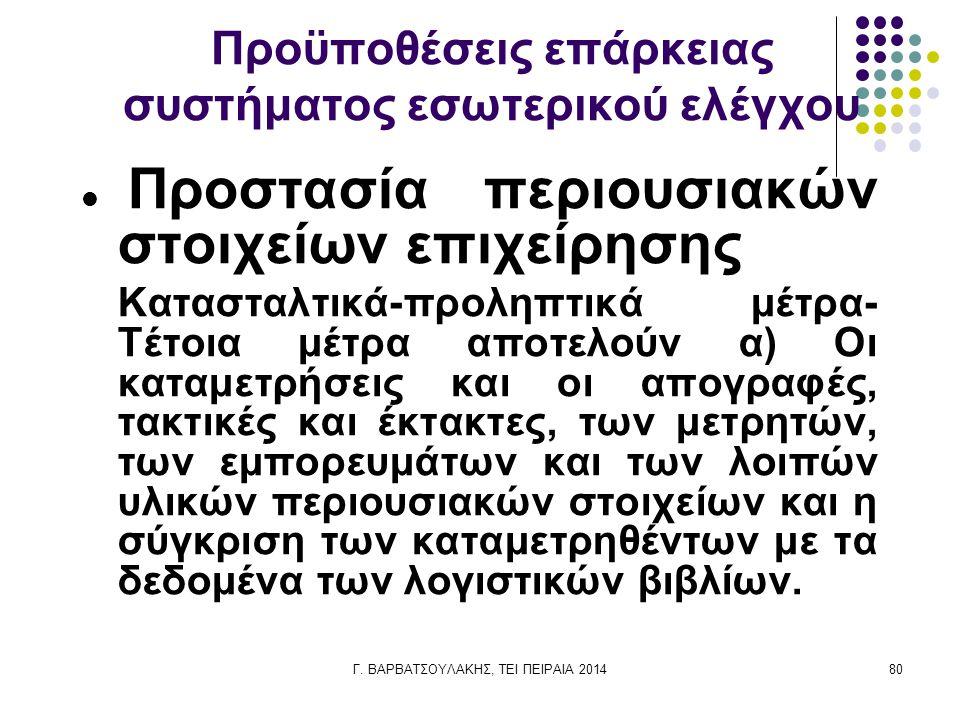 Γ. ΒΑΡΒΑΤΣΟΥΛΑΚΗΣ, ΤΕΙ ΠΕΙΡΑΙΑ 201480 Προϋποθέσεις επάρκειας συστήματος εσωτερικού ελέγχου Προστασία περιουσιακών στοιχείων επιχείρησης Κατασταλτικά-π