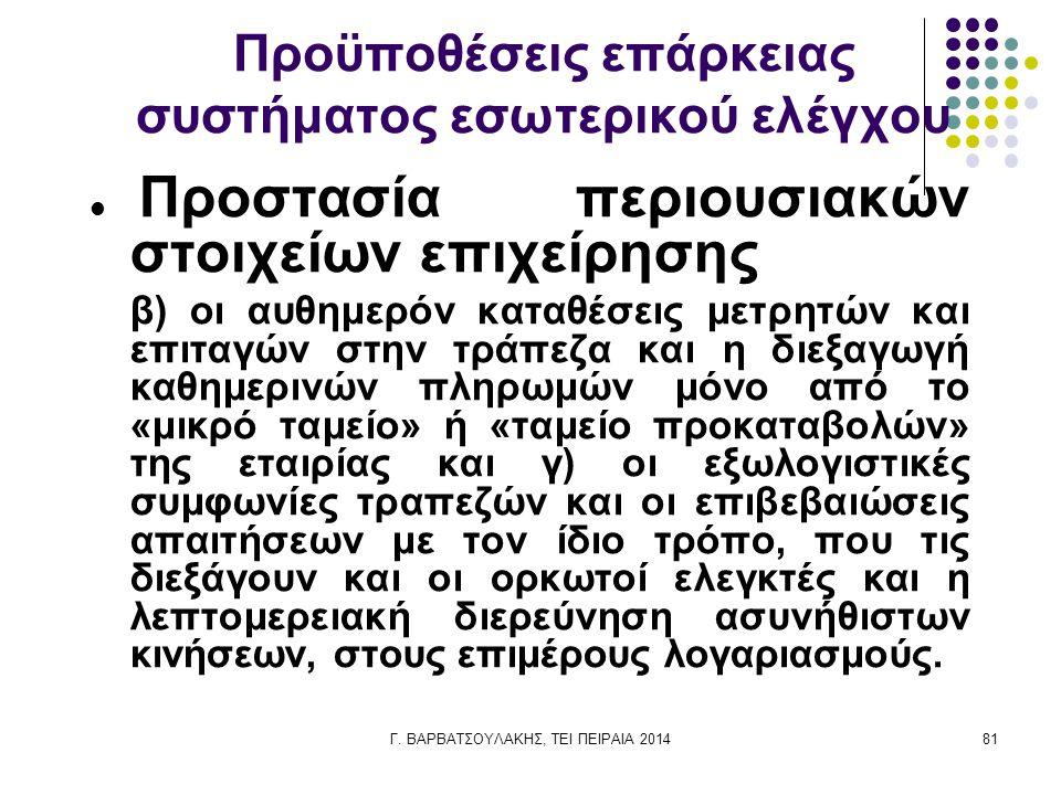 Γ. ΒΑΡΒΑΤΣΟΥΛΑΚΗΣ, ΤΕΙ ΠΕΙΡΑΙΑ 201481 Προϋποθέσεις επάρκειας συστήματος εσωτερικού ελέγχου Προστασία περιουσιακών στοιχείων επιχείρησης β) οι αυθημερό