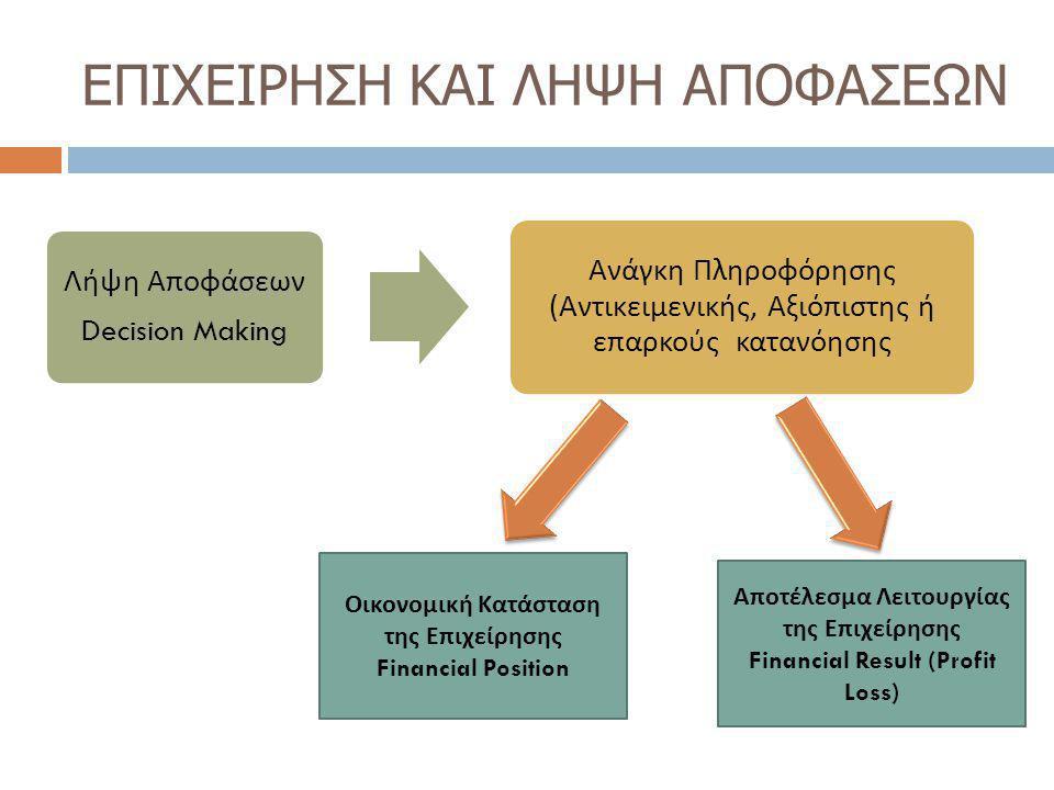 ΛΟΓΙΣΤΙΚΗ  Επιστήμη της περιγραφής, μέτρησης, ανάλυσης της οικονομικής δραστηριότητας με σκοπό την παροχή της απαιτούμενης πληροφόρησης για τη λήψη αποφάσεων από την επιχείρηση και όσους συνδέονται με αυτήν.