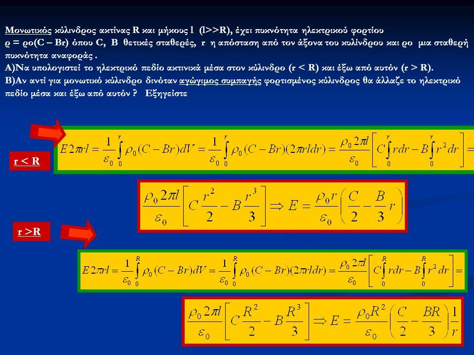 Μονωτικός κύλινδρος ακτίνας R και μήκους l (l>>R), έχει πυκνότητα ηλεκτρικού φορτίου ρ = ρο(C – Br) όπου C, B θετικές σταθερές, r η απόσταση από τον άξονα του κυλίνδρου και ρο μια σταθερή πυκνότητα αναφοράς.