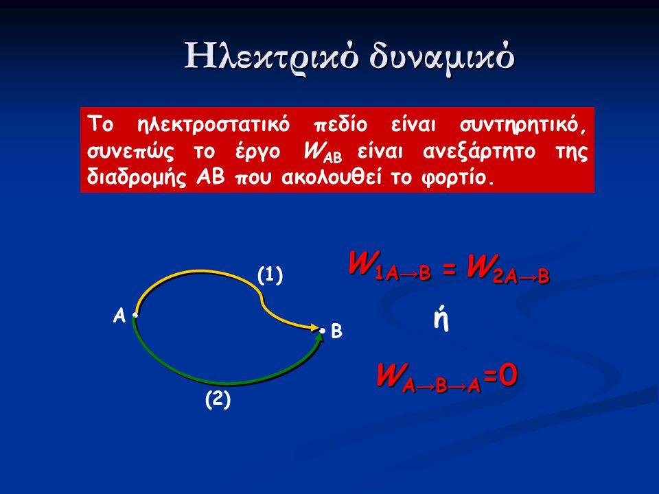 Το ηλεκτροστατικό πεδίο είναι συντηρητικό, συνεπώς το έργο W AB είναι ανεξάρτητο της διαδρομής ΑΒ που ακολουθεί το φορτίο.