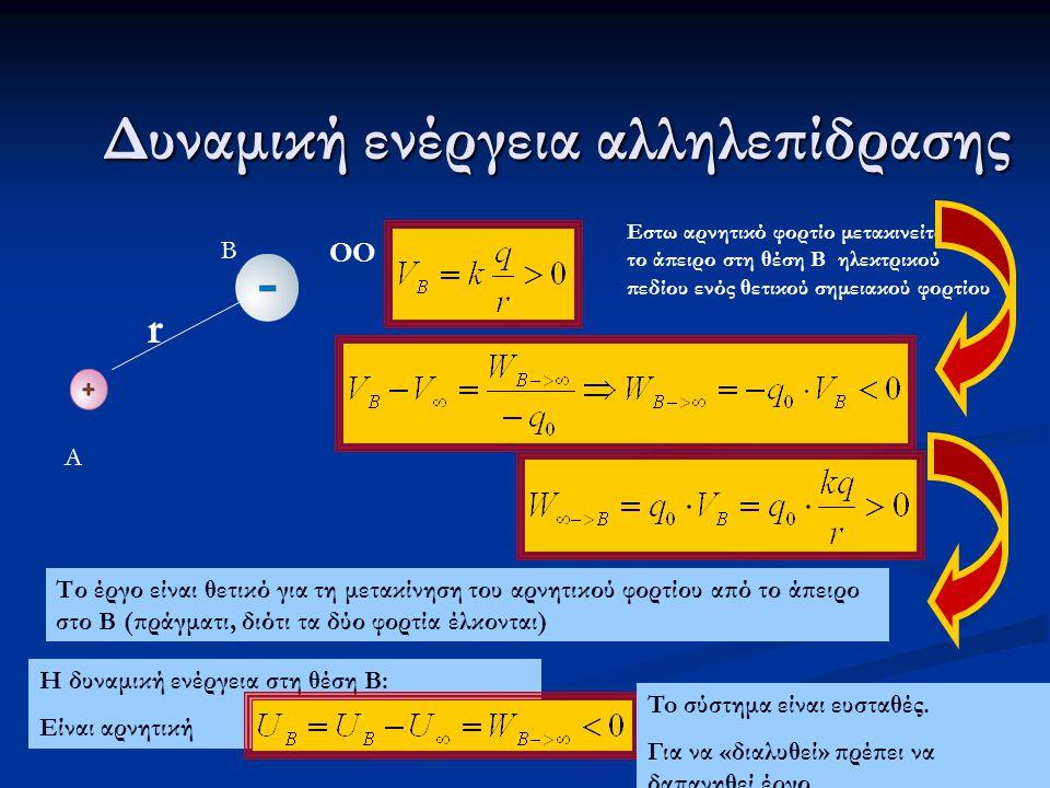 Δυναμική ενέργεια αλληλεπίδρασης r ΟΟ Το έργο είναι θετικό για τη μετακίνηση του αρνητικού φορτίου από το άπειρο στο Β (πράγματι, διότι τα δύο φορτία έλκονται) Α Β Η δυναμική ενέργεια στη θέση Β: Είναι αρνητική To σύστημα είναι ευσταθές.