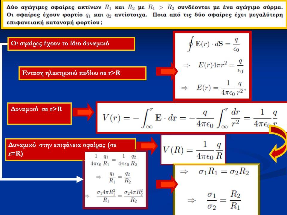 Ενταση ηλεκτρικού πεδίου σε r>R Δυναμικό σε r>R Δυναμικό στην επιφάνεια σφαίρας (σε r=R) Οι σφαίρες έχουν το ίδιο δυναμικό