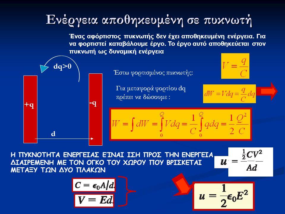 Ενέργεια αποθηκευμένη σε πυκνωτή +q+q -q d dq>0 Ένας αφόρτιστος πυκνωτής δεν έχει αποθηκευμένη ενέργεια.