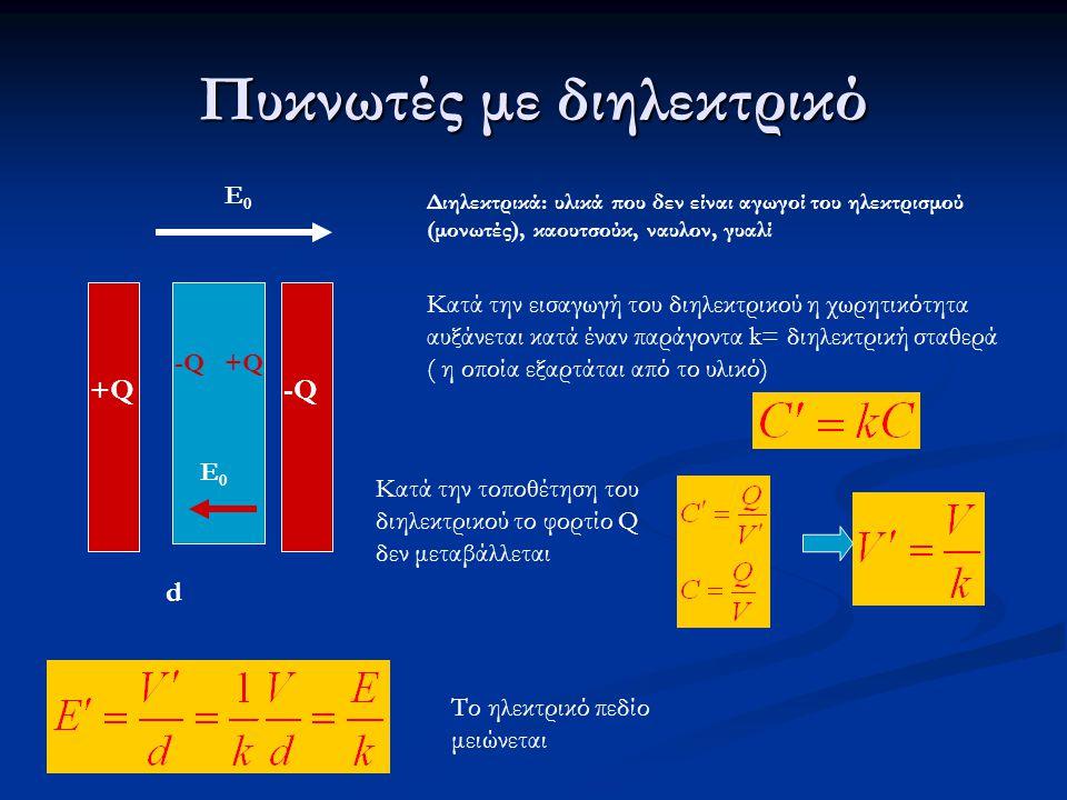 Πυκνωτές με διηλεκτρικό +Q+Q -Q d Ε0Ε0 Διηλεκτρικά: υλικά που δεν είναι αγωγοί του ηλεκτρισμού (μονωτές), καουτσούκ, ναυλον, γυαλί Κατά την εισαγωγή του διηλεκτρικού η χωρητικότητα αυξάνεται κατά έναν παράγοντα k= διηλεκτρική σταθερά ( η οποία εξαρτάται από το υλικό) Κατά την τοποθέτηση του διηλεκτρικού το φορτίο Q δεν μεταβάλλεται Το ηλεκτρικό πεδίο μειώνεται -Q-Q+Q+Q Ε0Ε0
