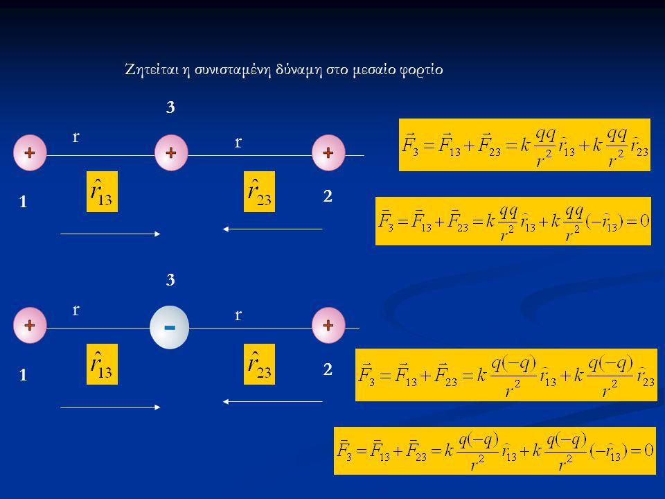 Ζητείται η συνισταμένη δύναμη στο μεσαίο φορτίο r r 1 2 3 2 r r 1 3