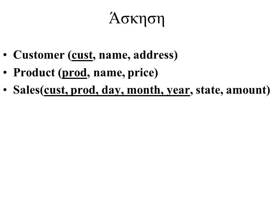 Άσκηση Customer (cust, name, address) Product (prod, name, price) Sales(cust, prod, day, month, year, state, amount)
