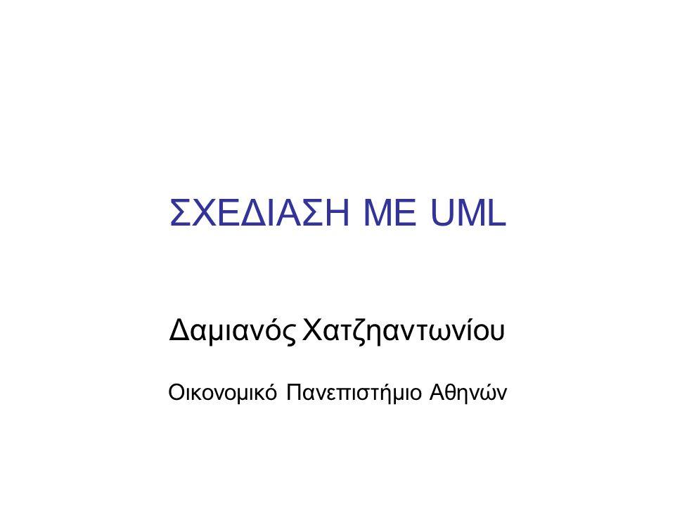 Θεωρία – Ανασκόπηση: UML Unified Modeling Language (UML) Ένα σύνολο από διαγράμματα (ή μοντέλα) (standardized) τα οποία περιγράφουν τα διάφορα μέρη ενός πληροφοριακού συστήματος (object-oriented).