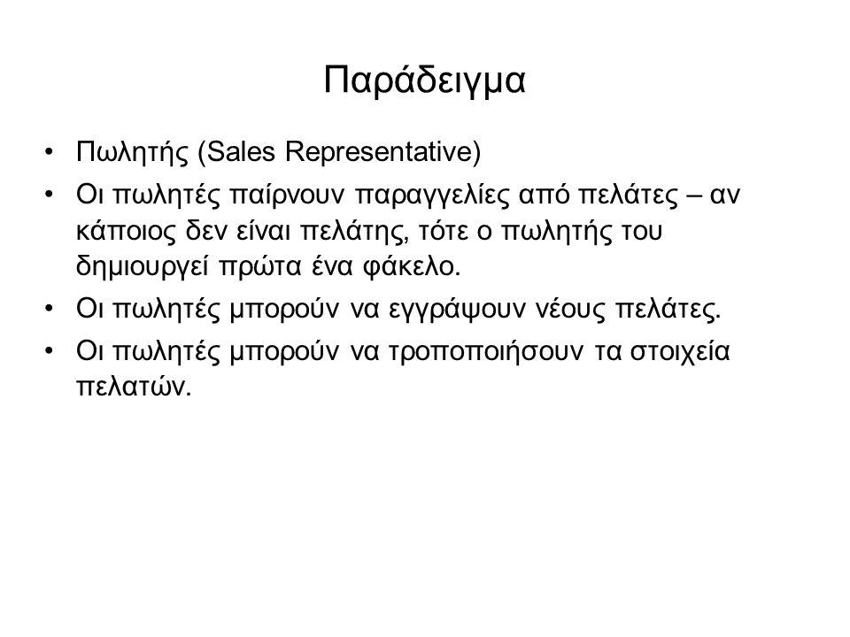 Παράδειγμα Πωλητής (Sales Representative) Οι πωλητές παίρνουν παραγγελίες από πελάτες – αν κάποιος δεν είναι πελάτης, τότε ο πωλητής του δημιουργεί πρ