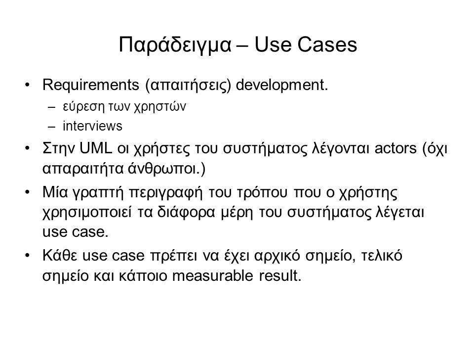 Παράδειγμα – Use Cases Requirements (απαιτήσεις) development. –εύρεση των χρηστών –interviews Στην UML οι χρήστες του συστήματος λέγονται actors (όχι