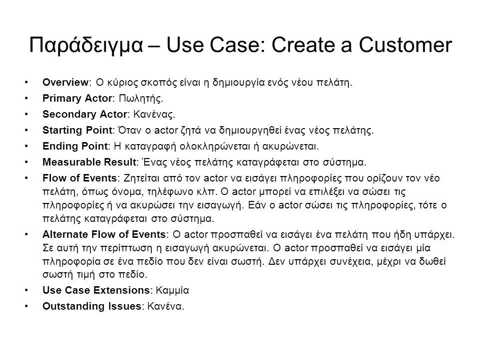 Παράδειγμα – Use Case: Create a Customer Overview: Ο κύριος σκοπός είναι η δημιουργία ενός νέου πελάτη. Primary Actor: Πωλητής. Secondary Actor: Κανέν