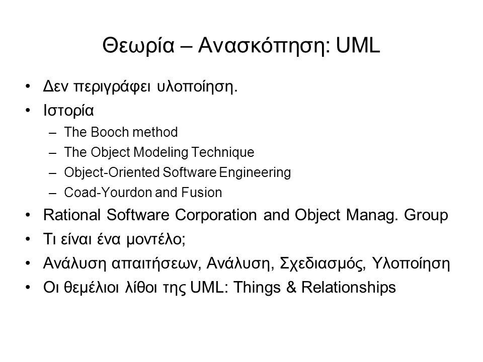 Θεωρία – Ανασκόπηση: UML Δεν περιγράφει υλοποίηση. Ιστορία –Τhe Booch method –The Object Modeling Technique –Object-Oriented Software Engineering –Coa