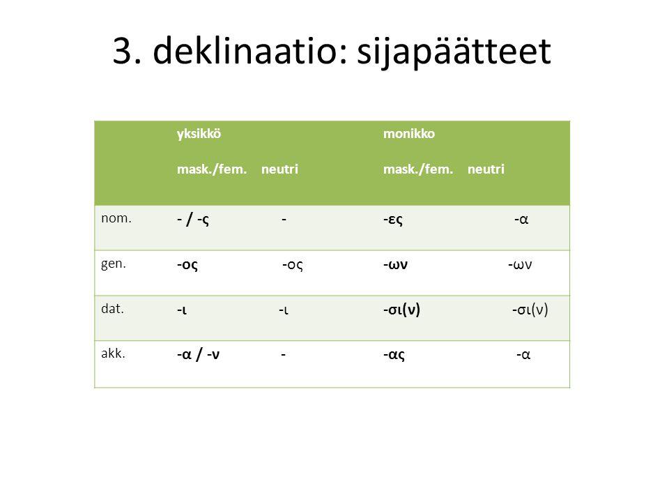 3.deklinaatio: sijapäätteet yksikkö mask./fem. neutri monikko mask./fem.