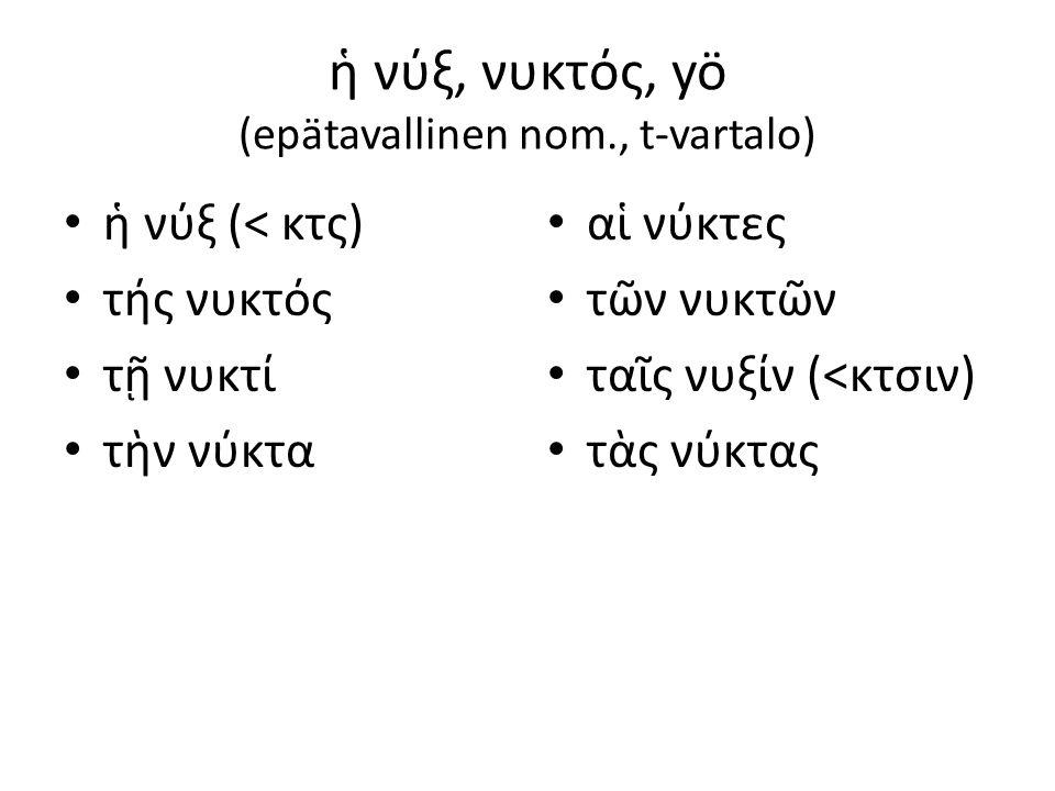 εἷς, μία, ἕν = yksi (eräs) οὐδείς, οὐδεμία, οὐδἐν = ei kukaan, ei mikään, ei mitään tv: ἑν tv: οὐδεν