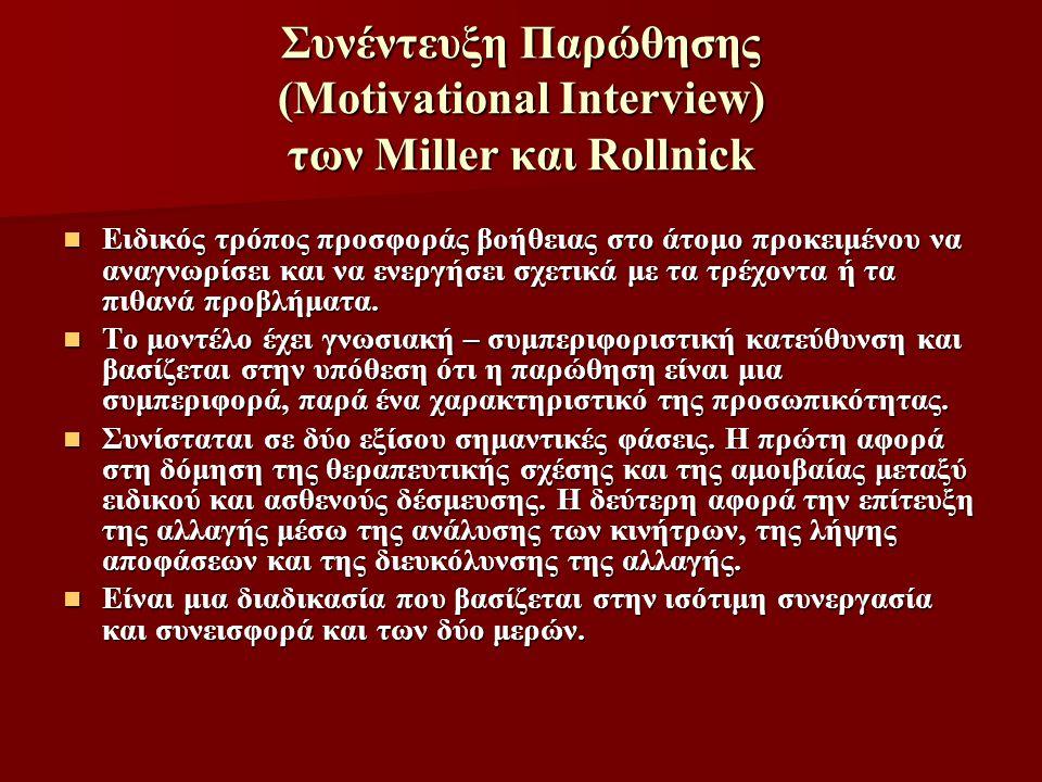 Συνέντευξη Παρώθησης (Motivational Interview) των Miller και Rollnick Ειδικός τρόπος προσφοράς βοήθειας στο άτομο προκειμένου να αναγνωρίσει και να εν