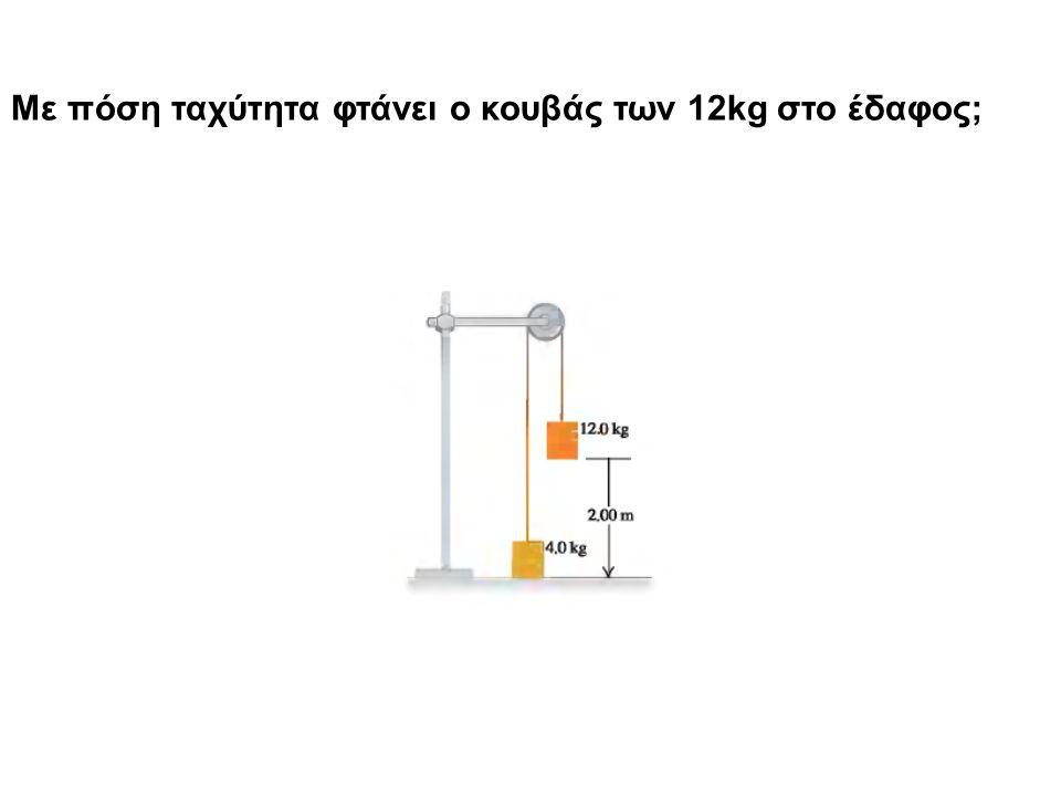 Με πόση ταχύτητα φτάνει ο κουβάς των 12kg στο έδαφος;