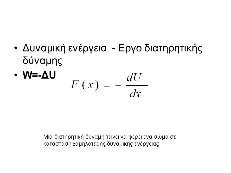 Δυναμική ενέργεια - Εργο διατηρητικής δύναμης W=-ΔU Μια διατηρητική δύναμη τείνει να φέρει ένα σώμα σε κατάσταση χαμηλότερης δυναμικής ενέργειας