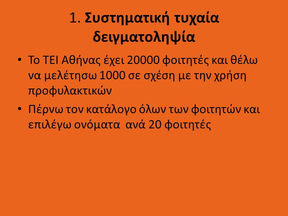 1. Συστηματική τυχαία δειγματοληψία Το ΤΕΙ Αθήνας έχει 20000 φοιτητές και θέλω να μελέτησω 1000 σε σχέση με την χρήση προφυλακτικών Πέρνω τον κατάλογο