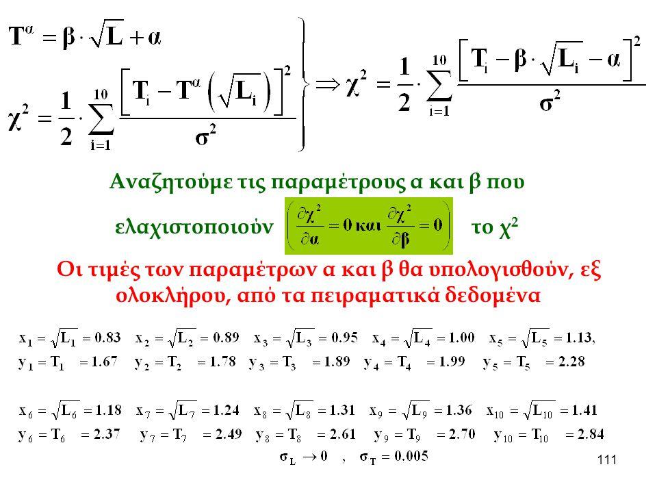 111 Αναζητούμε τις παραμέτρους α και β που ελαχιστοποιούν το χ 2 Οι τιμές των παραμέτρων α και β θα υπολογισθούν, εξ ολοκλήρου, από τα πειραματικά δεδ