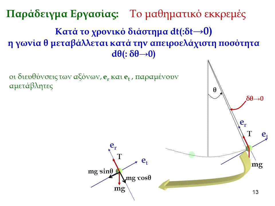 13 Παράδειγμα Εργασίας: Το μαθηματικό εκκρεμές Κατά το χρονικό διάστημα dt(:δt →0) η γωνία θ μεταβάλλεται κατά την απειροελάχιστη ποσότητα dθ(: δθ→0)