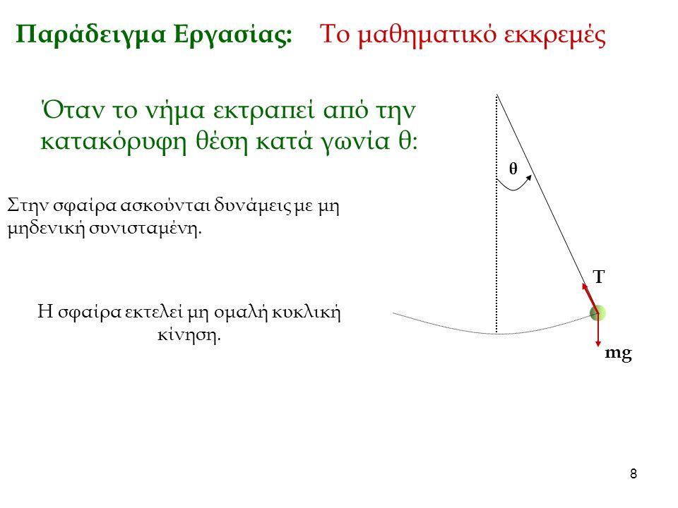 9 Παράδειγμα Εργασίας: Το μαθηματικό εκκρεμές θ Όταν το νήμα εκτραπεί από την κατακόρυφη θέση κατά γωνία θ: mg T Στην σφαίρα ασκούνται δυνάμεις με μη μηδενική συνισταμένη.