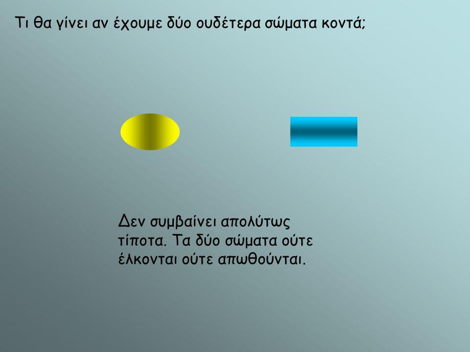 Τι θα γίνει αν έχουμε δύο ουδέτερα σώματα κοντά; Δεν συμβαίνει απολύτως τίποτα. Τα δύο σώματα ούτε έλκονται ούτε απωθούνται.