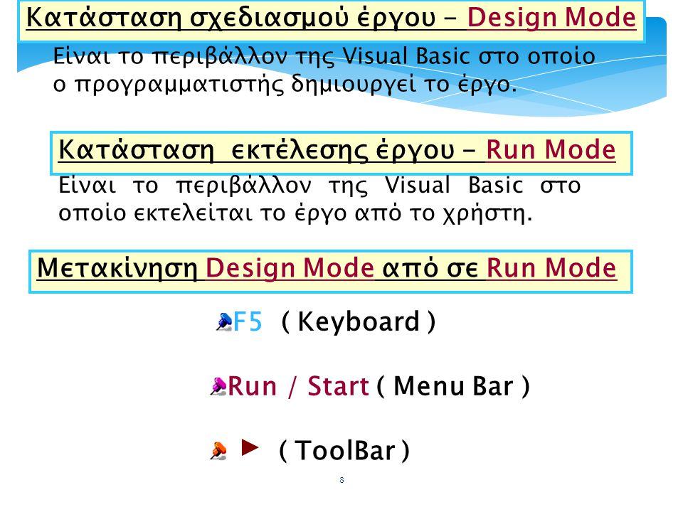 Κατάσταση σχεδιασμού έργου - Design Mode Είναι το περιβάλλον της Visual Basic στο οποίο ο προγραμματιστής δημιουργεί το έργο. Κατάσταση εκτέλεσης έργο
