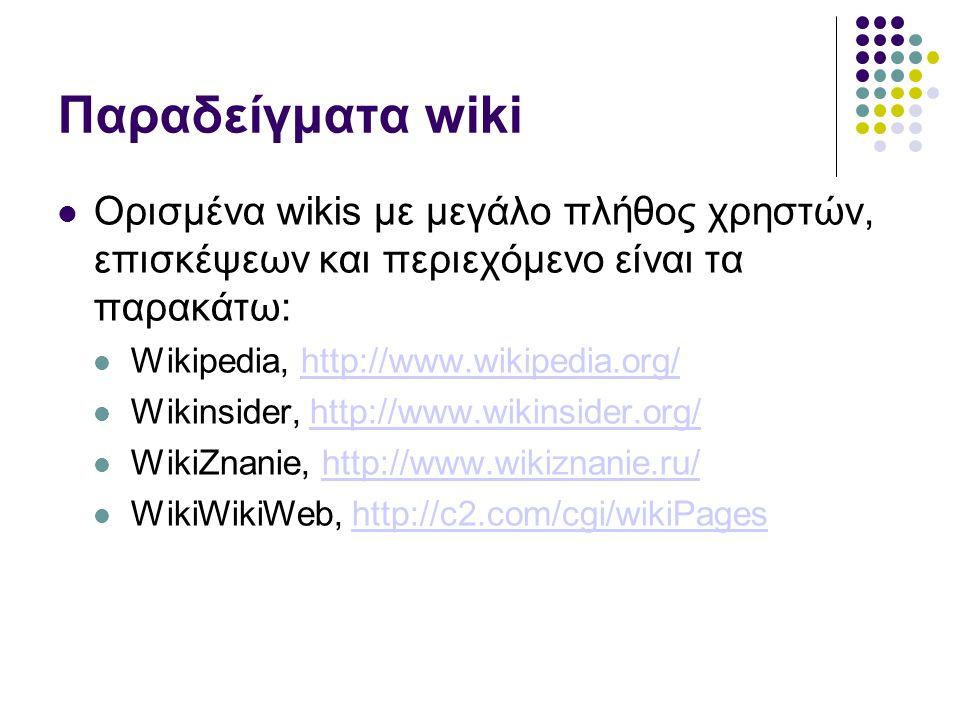 Παραδείγματα wiki Ορισμένα wikis με μεγάλο πλήθος χρηστών, επισκέψεων και περιεχόμενο είναι τα παρακάτω: Wikipedia, http://www.wikipedia.org/http://www.wikipedia.org/ Wikinsider, http://www.wikinsider.org/http://www.wikinsider.org/ WikiZnanie, http://www.wikiznanie.ru/http://www.wikiznanie.ru/ WikiWikiWeb, http://c2.com/cgi/wikiPageshttp://c2.com/cgi/wikiPages