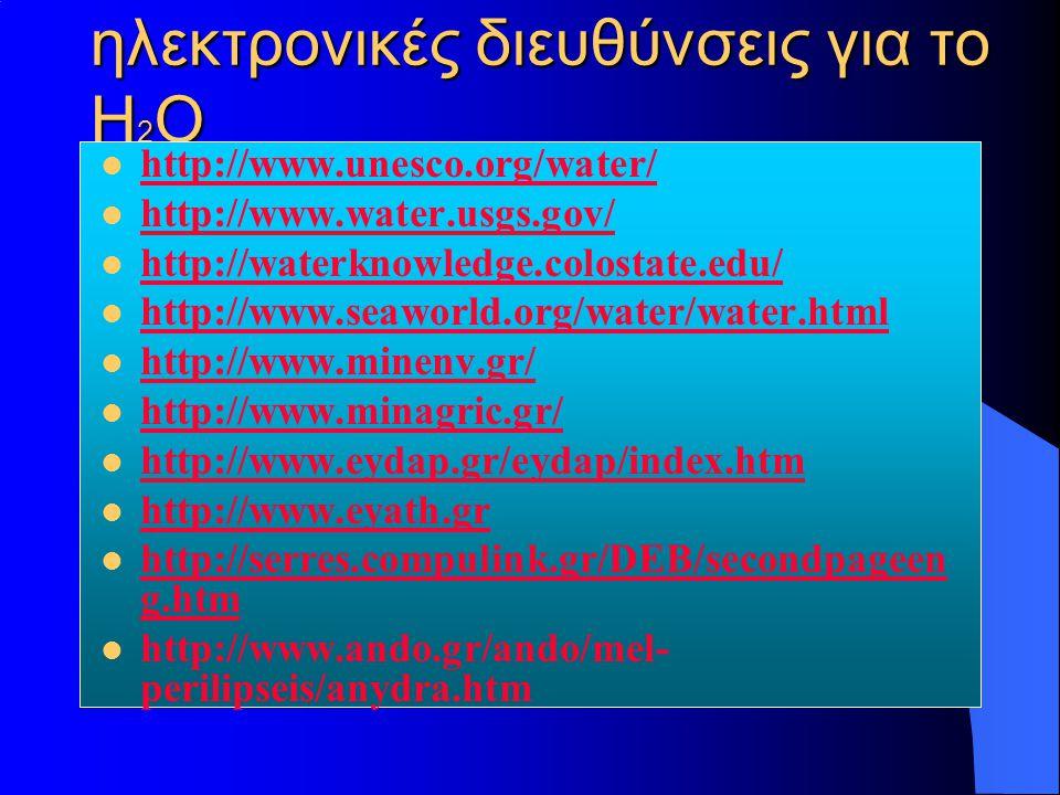 ηλεκτρονικές διευθύνσεις για το Η 2 Ο http://www.unesco.org/water/ http://www.water.usgs.gov/ http://waterknowledge.colostate.edu/ http://www.seaworld