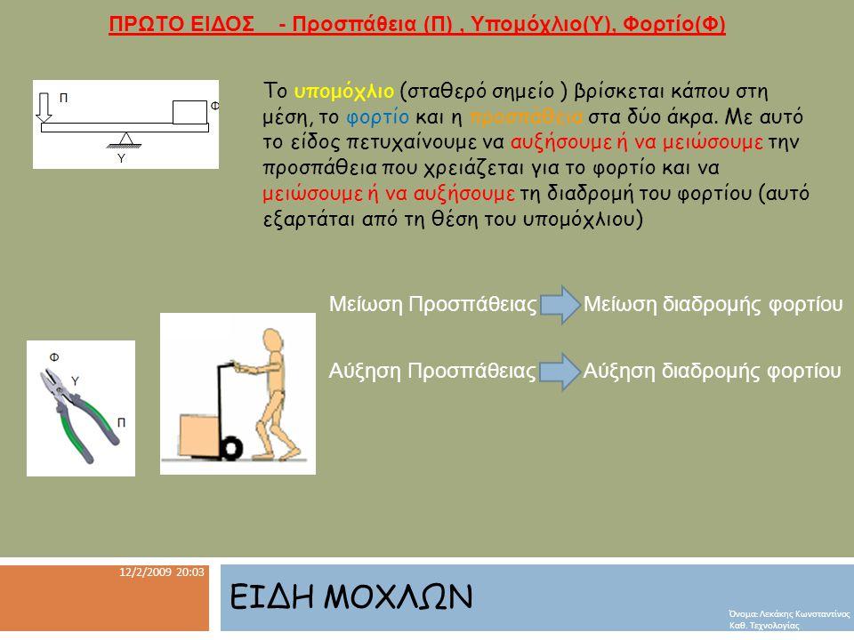 ΕΙΔΗ ΜΟΧΛΩΝ 12/2/2009 20:03 Όνομα : Λεκάκης Κωνσταντίνος Καθ.