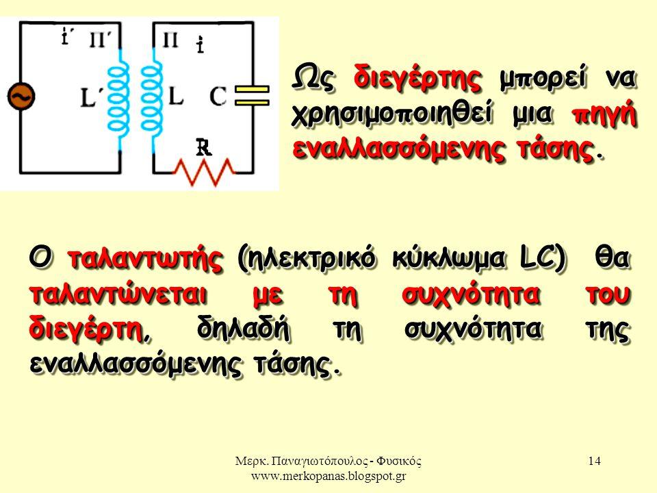 Μερκ. Παναγιωτόπουλος - Φυσικός www.merkopanas.blogspot.gr 14 Ως διεγέρτης μπορεί να χρησιμοποιηθεί μια πηγή εναλλασσόμενης τάσης. Ο ταλαντωτής (ηλεκτ