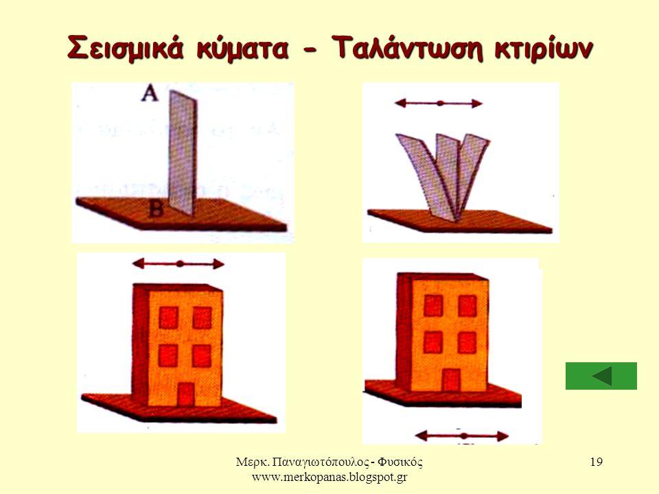 Μερκ. Παναγιωτόπουλος - Φυσικός www.merkopanas.blogspot.gr 19 Σεισμικά κύματα - Ταλάντωση κτιρίων