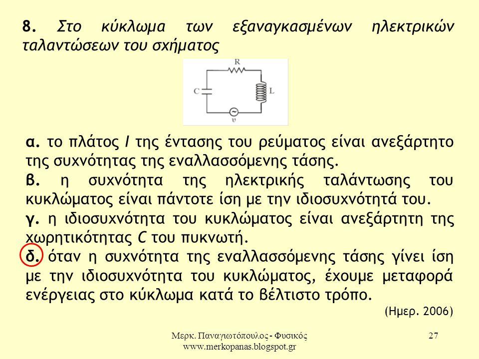 Μερκ. Παναγιωτόπουλος - Φυσικός www.merkopanas.blogspot.gr 27 8. Στο κύκλωμα των εξαναγκασμένων ηλεκτρικών ταλαντώσεων του σχήματος α. το πλάτος Ι της