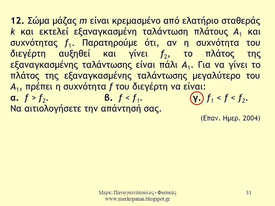 Μερκ. Παναγιωτόπουλος - Φυσικός www.merkopanas.blogspot.gr 31 12. Σώμα μάζας m είναι κρεμασμένο από ελατήριο σταθεράς k και εκτελεί εξαναγκασμένη ταλά