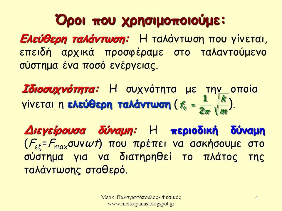 Μερκ. Παναγιωτόπουλος - Φυσικός www.merkopanas.blogspot.gr 4 Ελεύθερη ταλάντωση: Ελεύθερη ταλάντωση: Η ταλάντωση που γίνεται, επειδή αρχικά προσφέραμε