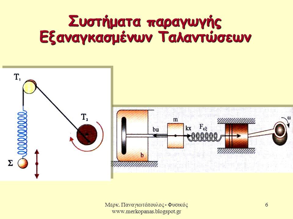 Μερκ. Παναγιωτόπουλος - Φυσικός www.merkopanas.blogspot.gr 6 Συστήματα παραγωγής Εξαναγκασμένων Ταλαντώσεων