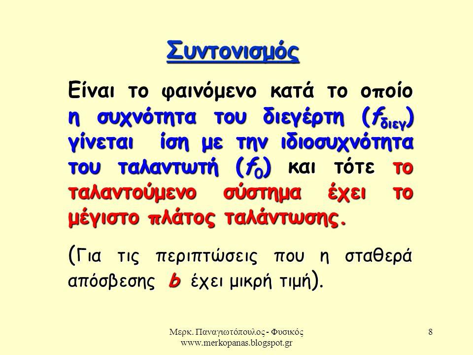 Μερκ. Παναγιωτόπουλος - Φυσικός www.merkopanas.blogspot.gr 8 Συντονισμός Είναι το φαινόμενο κατά το οποίο η συχνότητα του διεγέρτη (f διεγ ) γίνεται ί