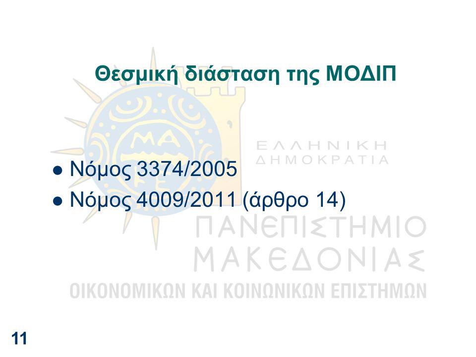 Θεσμική διάσταση της ΜΟΔΙΠ Νόμος 3374/2005 Νόμος 4009/2011 (άρθρο 14) 11