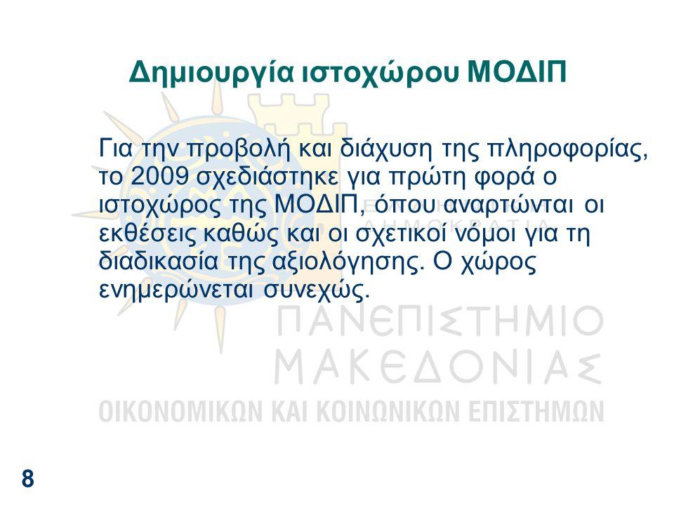 Δημιουργία ιστοχώρου ΜΟΔΙΠ Για την προβολή και διάχυση της πληροφορίας, το 2009 σχεδιάστηκε για πρώτη φορά ο ιστοχώρος της ΜΟΔΙΠ, όπου αναρτώνται οι ε