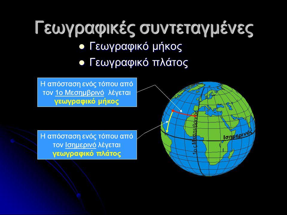 Γεωγραφικές συντεταγμένες Γεωγραφικό μήκος Γεωγραφικό μήκος Γεωγραφικό πλάτος Γεωγραφικό πλάτος Η απόσταση ενός τόπου από τον Ισημερινό λέγεται γεωγρα