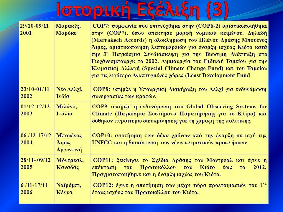29/10-09/11 2001 Μαρακές, Μαρόκο COP7: συμφωνία που επιτεύχθηκε στην (COP6-2) οριστικοποιήθηκε στην (COP7), όπου απέκτησε μορφή νομικού κειμένου. Δηλα