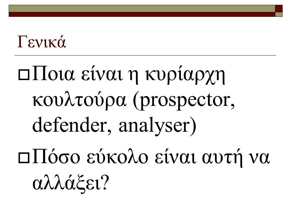 Γενικά  Ποια είναι η κυρίαρχη κουλτούρα (prospector, defender, analyser)  Πόσο εύκολο είναι αυτή να αλλάξει