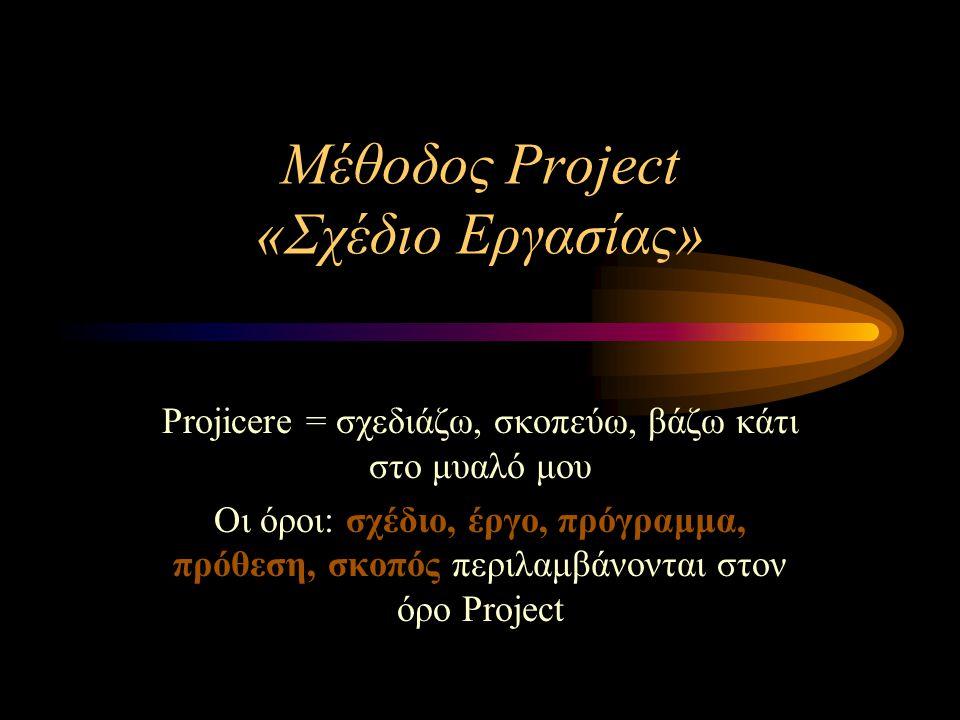 Μέθοδος Project «Σχέδιο Εργασίας» Projicere = σχεδιάζω, σκοπεύω, βάζω κάτι στο μυαλό μου Οι όροι: σχέδιο, έργο, πρόγραμμα, πρόθεση, σκοπός περιλαμβάνο