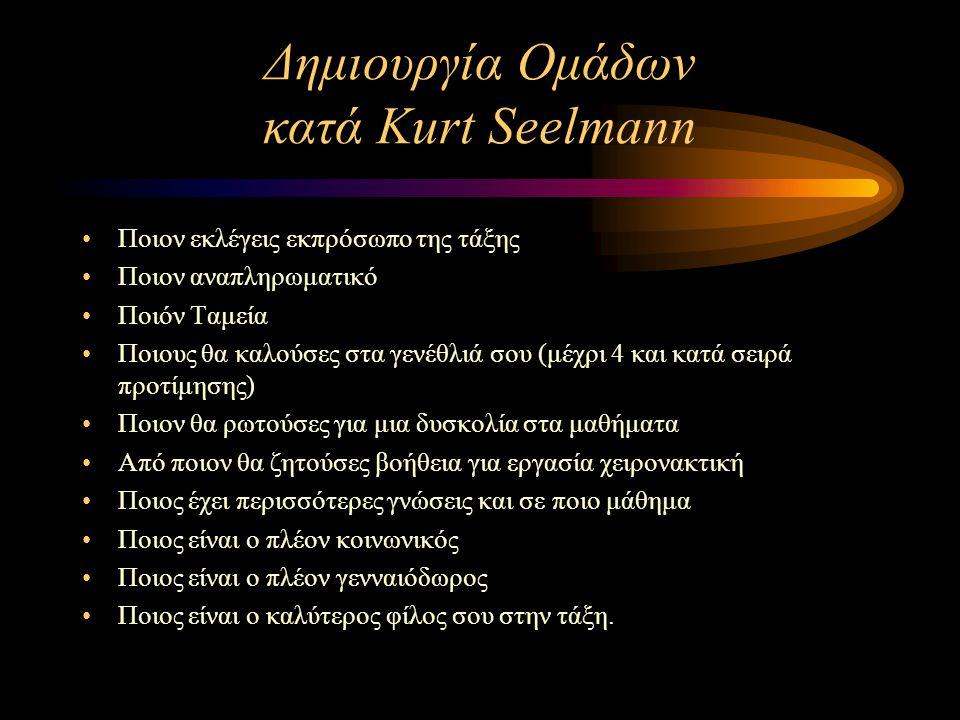 Δημιουργία Ομάδων κατά Kurt Seelmann Ποιον εκλέγεις εκπρόσωπο της τάξης Ποιον αναπληρωματικό Ποιόν Ταμεία Ποιους θα καλούσες στα γενέθλιά σου (μέχρι 4
