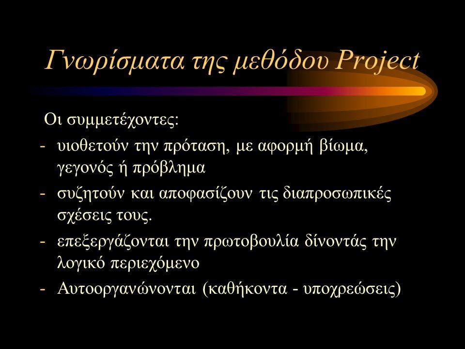 Γνωρίσματα της μεθόδου Project Οι συμμετέχοντες: -υιοθετούν την πρόταση, με αφορμή βίωμα, γεγονός ή πρόβλημα -συζητούν και αποφασίζουν τις διαπροσωπικ