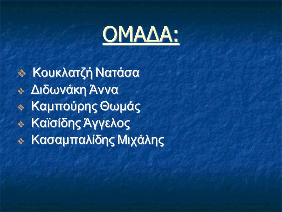 ΟΜΑΔΑ:  Κουκλατζή Νατάσα  Διδωνάκη Άννα  Καμπούρης Θωμάς  Καϊσίδης Άγγελος  Κασαμπαλίδης Μιχάλης