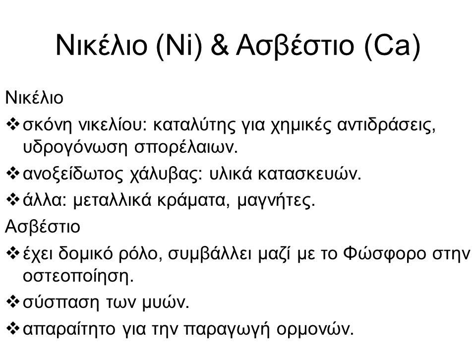 Νικέλιο (Ni) & Ασβέστιο (Ca) Νικέλιο  σκόνη νικελίου: καταλύτης για χημικές αντιδράσεις, υδρογόνωση σπορέλαιων.  ανοξείδωτος χάλυβας: υλικά κατασκευ