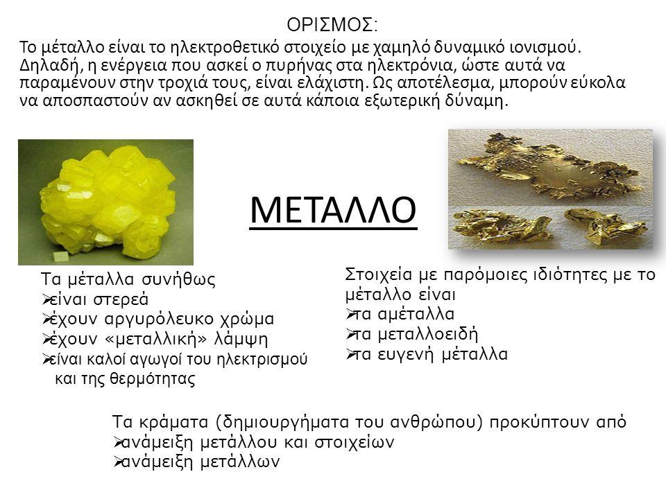 ΜΕΤΑΛΛΟ ΟΡΙΣΜΟΣ: Το μέταλλο είναι το ηλεκτροθετικό στοιχείο με χαμηλό δυναμικό ιονισμού. Δηλαδή, η ενέργεια που ασκεί ο πυρήνας στα ηλεκτρόνια, ώστε α