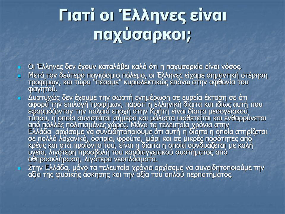 Γιατί οι Έλληνες είναι παχύσαρκοι; Οι Έλληνες δεν έχουν καταλάβει καλά ότι η παχυσαρκία είναι νόσος.